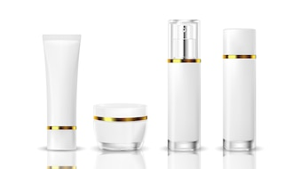 Realistic cosmetic bottle on a white background