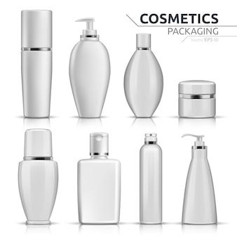 Realistic cosmetic bottles mock up set on white background