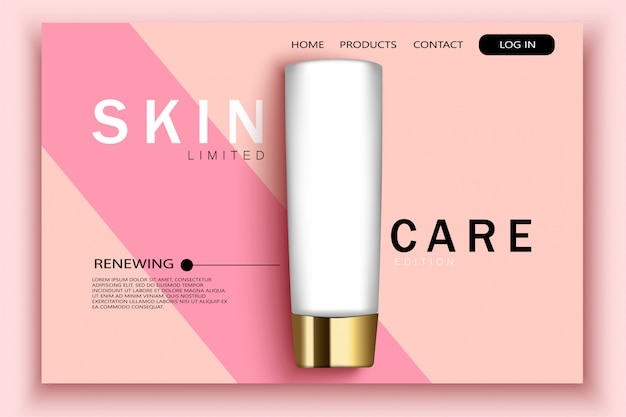 Realistic cosmetic bottles on pink site template with typographic background. landing page template