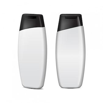 Реалистичные косметические бутылки установлены. вектор тюбик или контейнер для крема, мази, лосьона.
