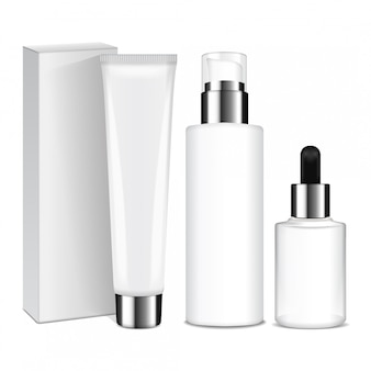 Realistic cosmetic bottles with silver caps.  containers and tubes for cream, lotion, gel, balsam, foundation cream.  illustration