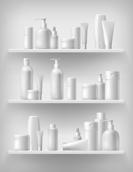 Реалистичный косметический набор макета бренда