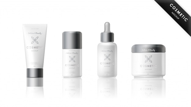 Realistic cosmetic brand mockup set
