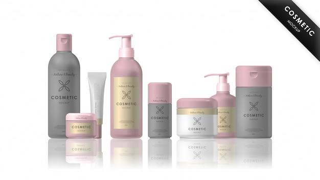 Realistic cosmetic brand mockup set
