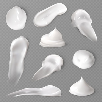 Realistic cosmetic cream smears set