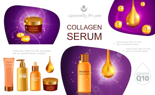 Realistic cosmetic infographic template with collagen serum drops packages of moisturizer skincare cream body lotion spray shower gel