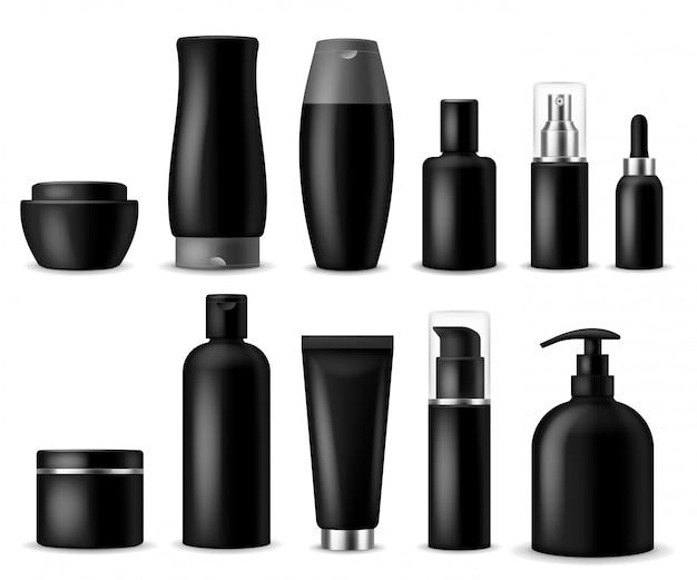 현실적인 화장품 모형. 검은 화장품 병, 용기 및 항아리. 여성 미용 제품. 스프레이, 비누 및 크림 패키지