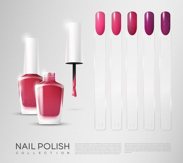 Realistic cosmetic nail polish set