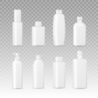 リアルな化粧品包装。分離した化粧品ボトルのセット、クリーム、石鹸、泡、シャンプーのコレクション。
