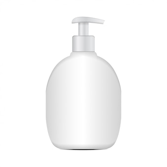 現実的な化粧品のプラスチックボトル。ブランドテンプレート