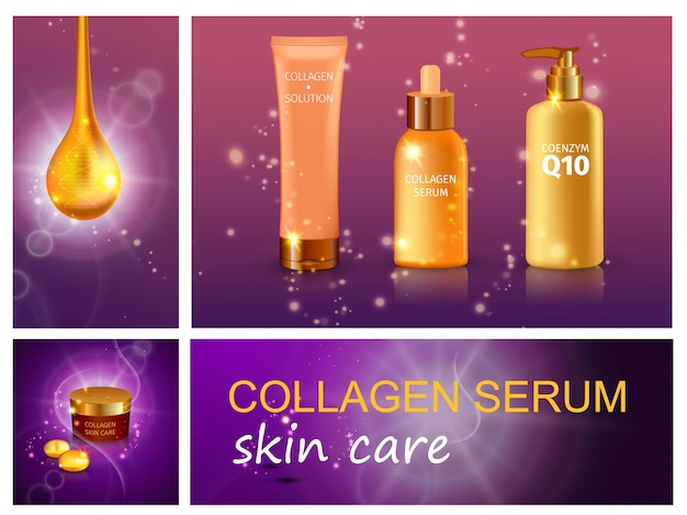 Realistic cosmetic products composition with collagen serum drop bottles of cream moisturizer and liquid soap on purple sparkling