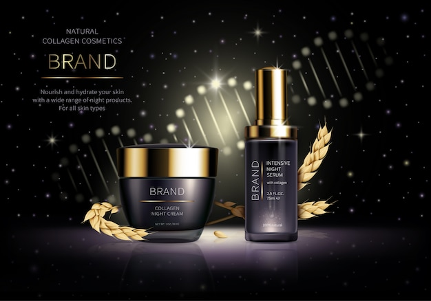Realistic cosmetic. smart night skin care cosmetics with wheat collagen next to ears
