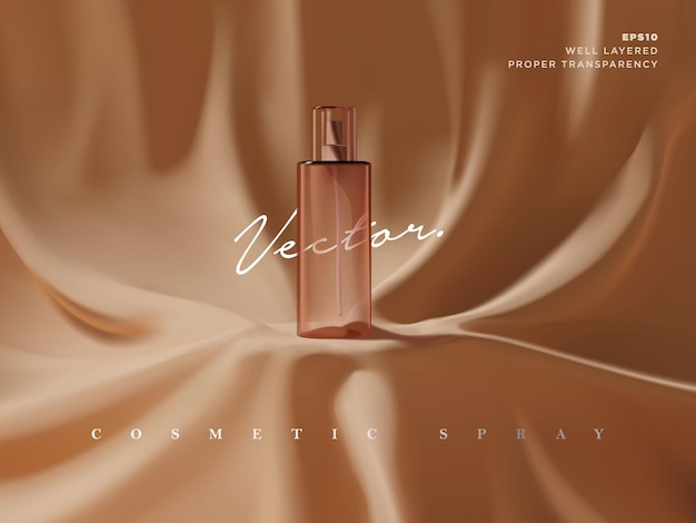 リアルな化粧品スプレーボトル広告シーンイラスト。美容製品のショーケースやプレゼンテーションのためのエレガントで豪華なファブリックドレープ表彰台