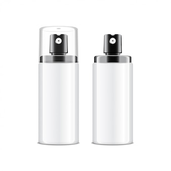 Realistic cosmetic spray bottle. dispenser for cream, balsam and other cosmetics. with lid and without.  template  your  on white background