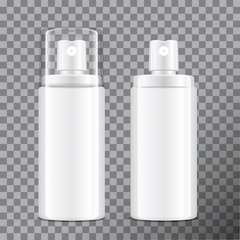 Realistic cosmetic spray bottle. dispenser for cream, balsam and other cosmetics. with lid and without.  template  your