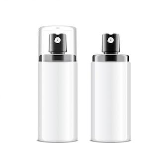現実的な化粧品スプレーボトル。クリーム、バルサム、その他の化粧品のディスペンサー。蓋あり・なし。白い背景の上のあなたのテンプレート