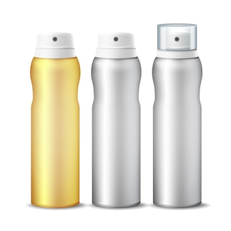 Realistic cosmetic spray can set