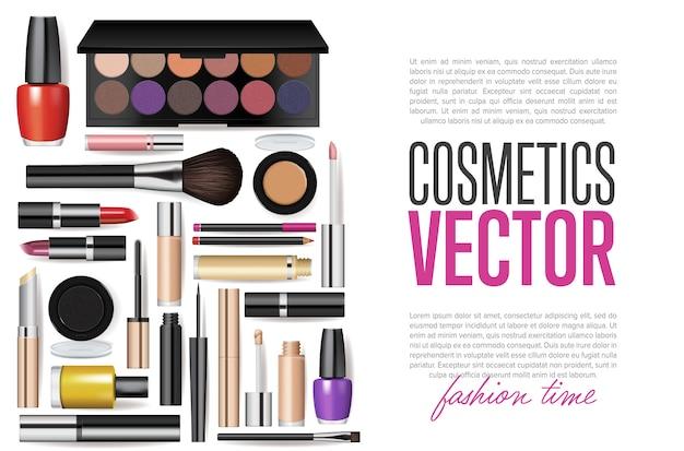 Realistic cosmetic tools mockup set