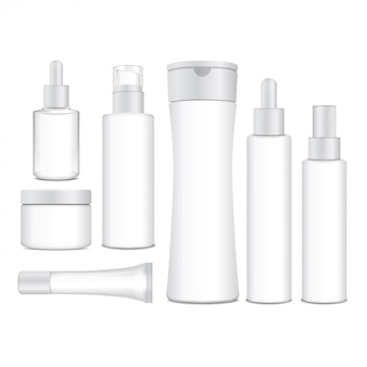 Realistic cosmetic white  bottles.  containers, tubes, sashet for cream, balsam, lotion, gel, shampoo, foundation cream.  illustration