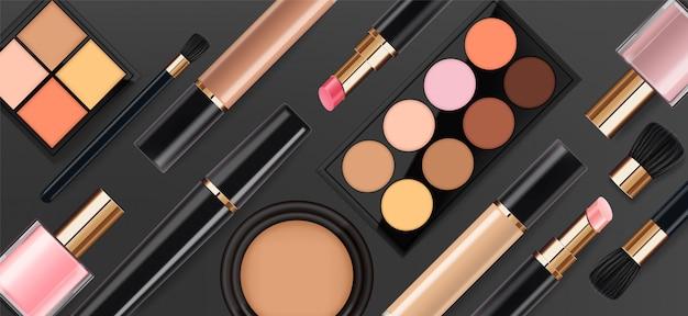 Realistic cosmetics make up set, big collection makeup product, powder, lipstick, mascara, makeup brush, eye shadow, concealer, nail polish, perfume and eyeliner,  facial set