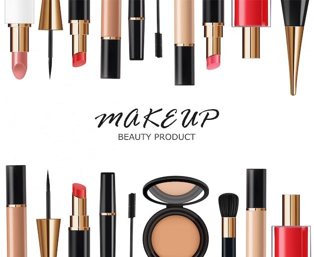 Realistic cosmetics makeup set, big collection makeup product, powder, lipstick, mascara, makeup brush, eye shadow, concealer, nail polish and eyeliner,  facial set