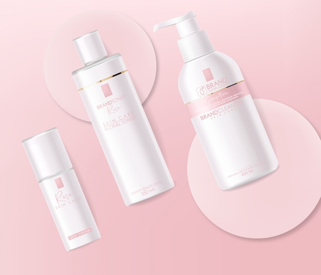 Realistic cosmetics, pink design, white bottle set, packaging mockup, skin care, cream, toner, cleanser, serum, beauty card, face treatment, isolated container 3d pink background