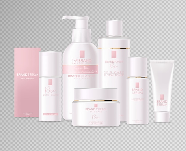 Realistic cosmetics, pink design, white bottle set, packaging mockup, skin care, hydration cream, toner, cleanser, serum, beauty card, face treatment, isolated container 3d white background