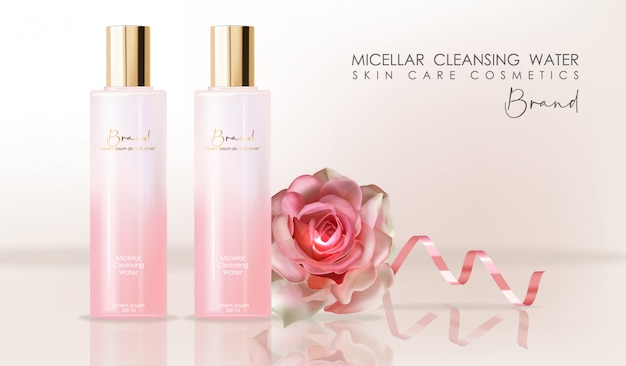 Realistic cosmetics skin care, micellar cleansing water, pink bottle packaging