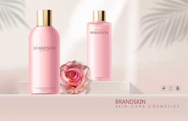 Realistic cosmetics skin care and rose, cleanser lotion, pink bottle packaging