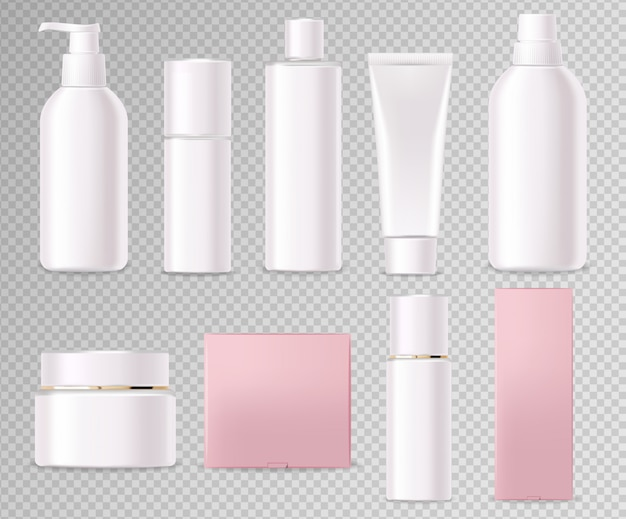 Realistic cosmetics, white bottle set, packaging mockup, skin care, hydration cream, toner, cleanser, serum, beauty card, face treatment, isolated container 3d transparent background vector