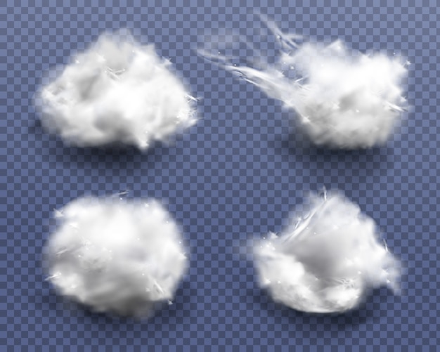 Realistic cotton wool, clouds or wadding balls set