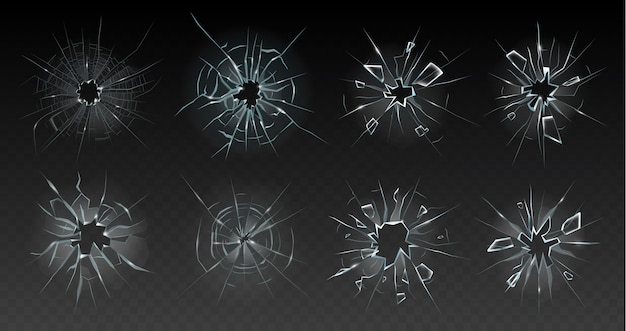 Realistic cracked glass illustration