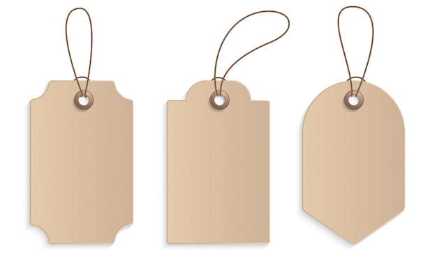 Realistic craft paper price tag