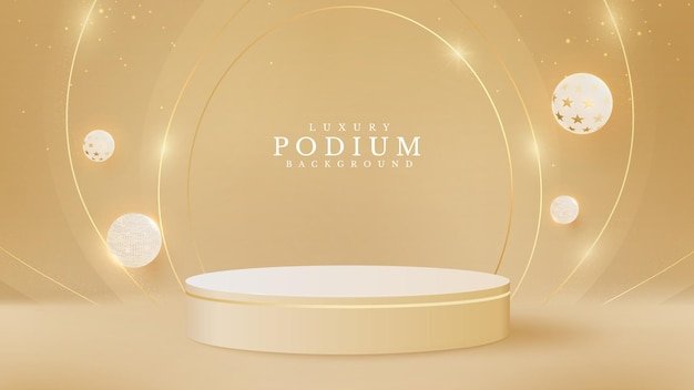 Realistic cream color product podium with balloon and gold ribbon around. luxury 3d style background concept. vector illustration for promoting sales and marketing.