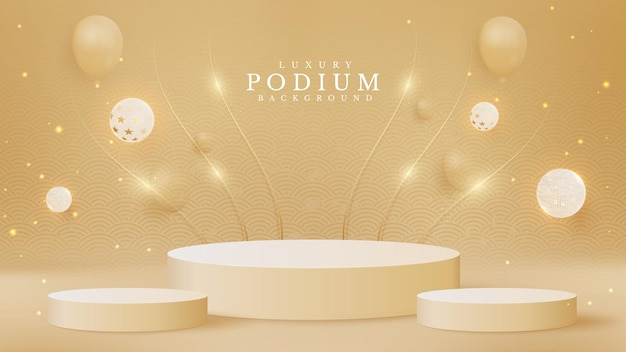 Realistic cream color product podium with golden lines sparkle and elegant ball. luxury 3d style background concept. vector illustration for promoting sales and marketing.