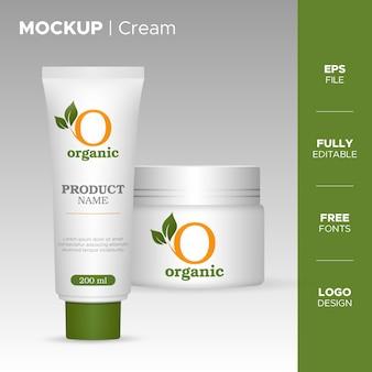 Realistic cream packaging design with organic logo Premium Vector