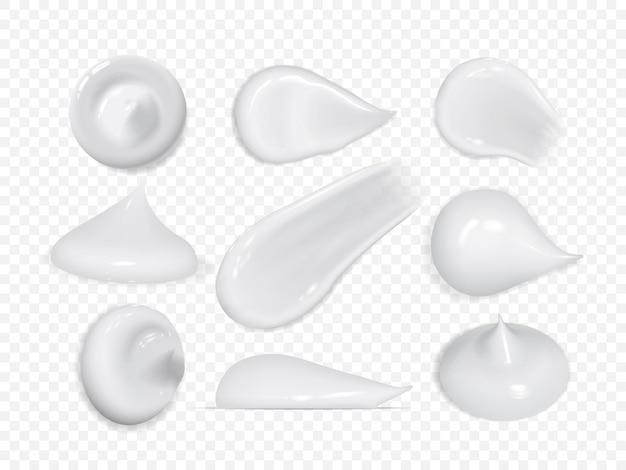 Реалистичные мазки кремом на белом фоне