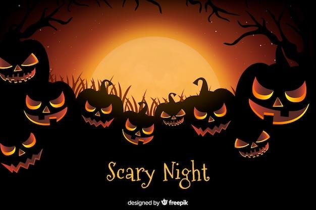 Realistic creepy pumpkins halloween background