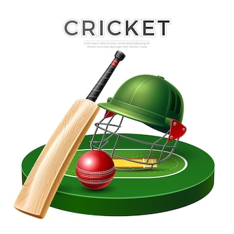 Realistic cricket bat leather ball and helmet on playground vector