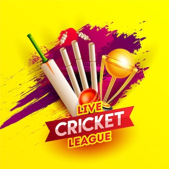 Realistic cricket elements on red brush stroke yellow background