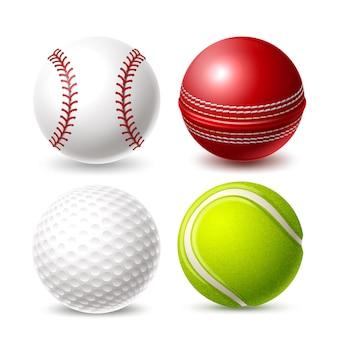 Реалистичный набор мячей для игры в крикет, теннис, гольф и бейсбол
