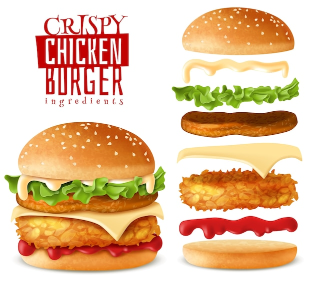 Realistic crispy chicken burger elements set