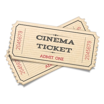 Realistic   crossed pair retro cinema tickets isolated on white