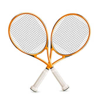 Realistic crossed tennis rackets for tennis tournament design
