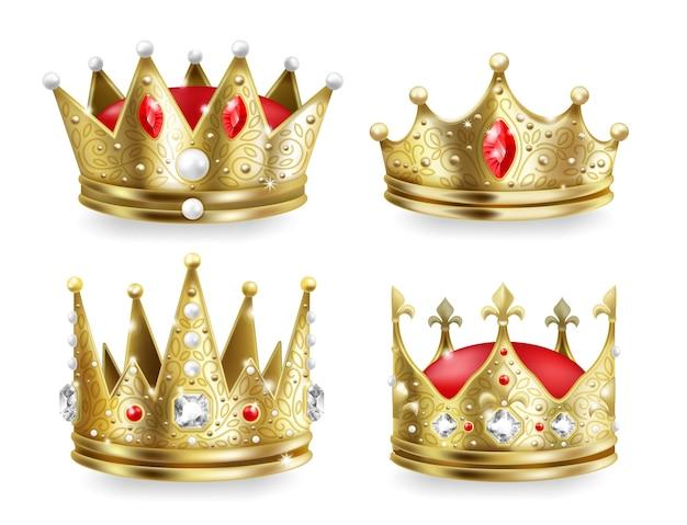 현실적인 왕관. 왕과 왕비 황금 왕실 머리 장식, 3d 중세 황제 럭셔리 컬렉션. 벡터 그림은 고급스러운 보석과 보석 세트가 있는 격리된 황금 군주 왕관