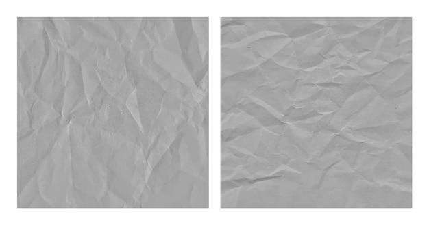 현실적인 구겨진 회색 종이 질감 배경 세트