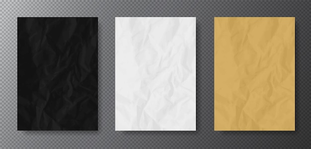 사실적인 구겨진 종이 텍스처 : 검정, 흰색 및 kraft (베이지) 색상. 제거하기 쉬운 배경에 투명한 그림자가있는 빈 a4 형식.