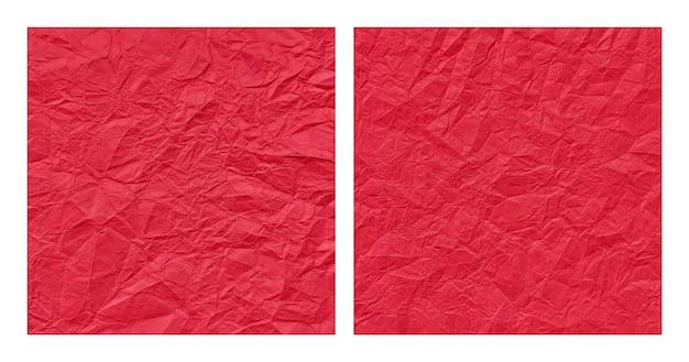 현실적인 구겨진된 빨간 종이 질감 배경 세트