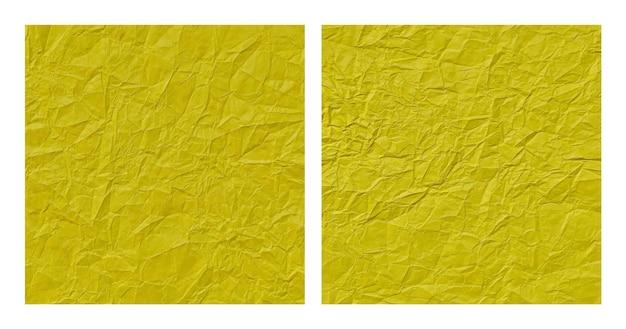 현실적인 구겨진 노란 종이 질감 배경 세트
