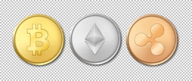 Realistic  crypto currency coin icon set. bitcoin, etherium, ripple. blockchain technology. closeup  on transparency grid background.  template for graphics. top view